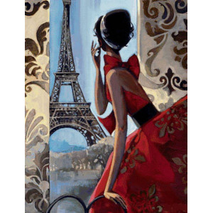 """GХ3117 """"Девушка в красном смотрит на Эйфелеву"""", 40х50 см"""