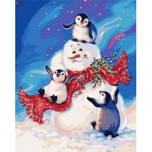 "GХ3402 ""Снеговик и пингвины"", 40х50 см"