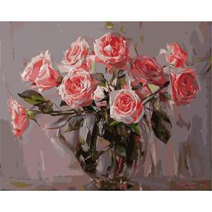 """GХ3544 """"Розы в прозрачной вазе"""", 40х50 см"""