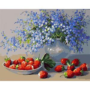 """GХ3578 """"Синие цветы и клубника"""", 40х50 см"""