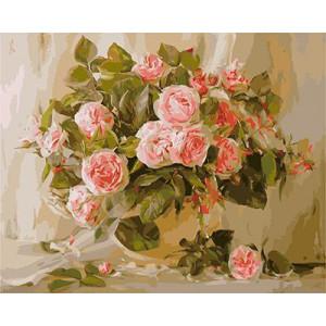 """GХ3663 """"Розы на коричнево-зеленом фоне"""", 40х50 см"""
