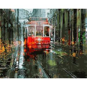 "GХ3691 ""Красный трамвай на осенней улице"", 40х50 см"