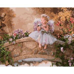 """GХ3695 """"Девочка-ангел на каменном мосту"""", 40х50 см купить в Омске недорого"""