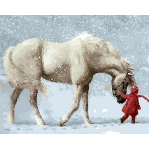 """GХ9600 """"Белая лошадь и девочка в красном"""", 40х50 см"""