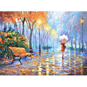 """GХ9931 """"Девушка с белым зонтом на вечерней аллее"""", 40х50 см купить в Омске недорого"""