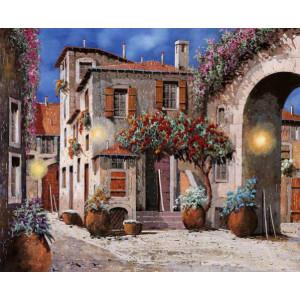 """GХ9938 """"Дом, арка, цветы"""", 40х50 см"""