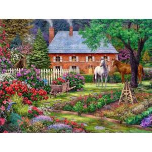"GХ9944 ""Домик, три лошади, тележка"", 40х50 см купить в Омске недорого"