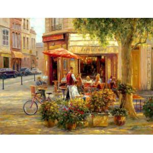 "GХ9980 ""Кафе, цветы, велосипед"", 40х50 см"