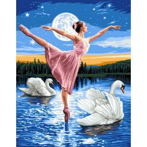 "GX6539 ""Балерина и два лебедя"", 40х50 см"