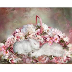 "GX7613 ""Кролики у корзинки с цветами"" 40*50 н"