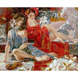 GX7897 Две девушки и скрипач, 40-50см