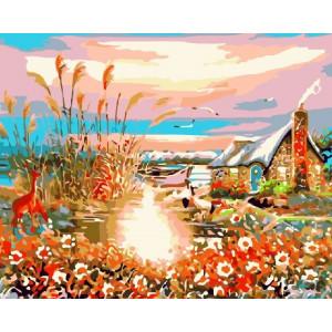 GX7947 Олени,озеро,домик,40-50 купить в Омске недорого