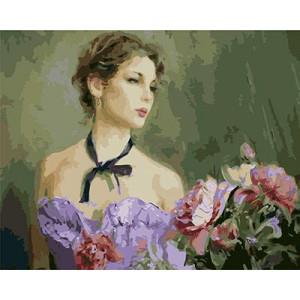 """GX9035 """"Девушка в сиреневом платье и цветы"""", 40х50 см купить в Омске недорого"""
