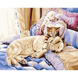 """GX9044 """"Собака и кот на постели"""", 40х50 см"""