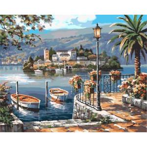 """GX9075 """"Две лодки, пальма, фонарь"""", 40х50 н"""