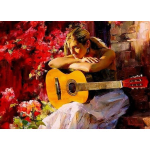 GX9085 Девушка с гитарой 40x50 н