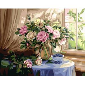 "GХ3701 ""Розы на столе и голубика"" , 40х50 см купить в Омске недорого"
