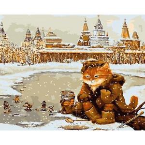 """GХ3719 """"Кот с мышами на рыбалке"""" , 40х50 см купить в Омске недорого"""