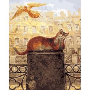"""GХ3724 """"Кот смотрит на летящего ангела"""" , 40х50 см купить в Омске недорого"""
