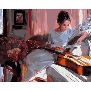 """GХ3775 """"Девушка читает книгу и гитара"""" , 40х50 см купить в Салавате  недорого"""