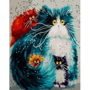 "GХ3805 ""Зеленая кошка и три котенка"" , 40х50 см купить в Омске недорого"