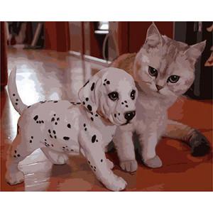 """GХ3814 """"Щенок-долматинец и котенок"""" , 40х50 см купить в Омске недорого"""