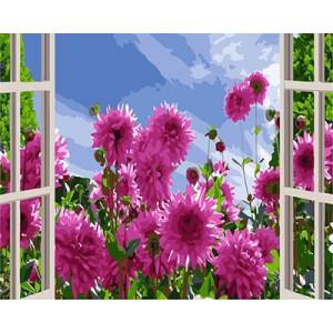 """GХ3820 """"Розовые цветы за окном"""" , 40х50 см купить в Омске недорого"""