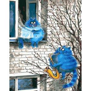 """GХ3889 """"Синий кот играет на саксофоне"""" , 40х50 см купить в Омске недорого"""
