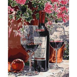 """GХ3917 """"Вино с двумя бокалами и розовые цветы"""" , 40х50 см купить в Керчи недорого"""