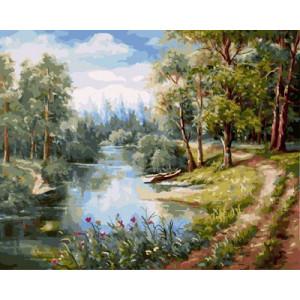 "GХ9922 ""Дорога вдоль лесной реки"" , 40х50 см купить в Омске недорого"