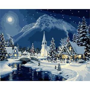 "GХ3484 ""Зимняя ночь в деревушке"", 40х50 см купить в Омске недорого"