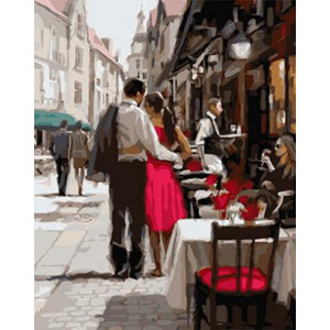 """GХ3562 """"Пара около уличного кафе"""", 40х50 см купить в Омске недорого"""