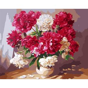 """GХ3715 """"Красные и белые пионы в белой вазе"""" , 40х50 см купить в Омске недорого"""