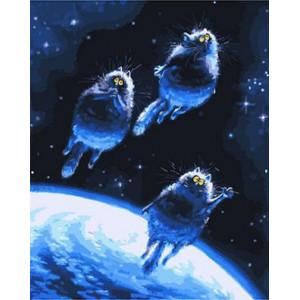 """GХ3726 """"Три кота летят в космос"""" Синие коты счастья Ирины Зенюк , 40х50 см купить в Омске недорого"""