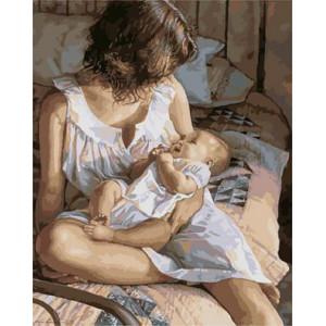 "GХ3730 ""Мама с сыном сидит на кровати"" , 40х50 см"