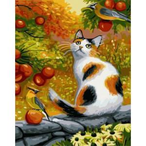 """GХ3873 """"Кошка и две птицы"""" , 40х50 см"""
