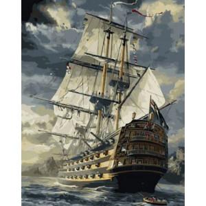 GX6923 Корабль с белыми парусами _ Картины по номерам - 40_50 купить в Омске недорого