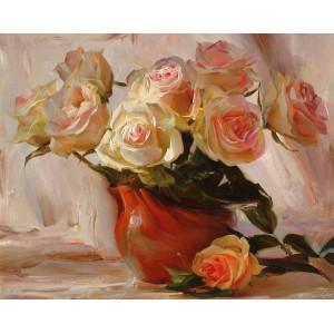 GX9387 Розы в глиняной вазе купить в Омске недорого