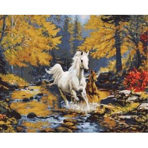 """GX9507 """"Лошадь и жеребенок скачут по ручью"""" купить в Омске недорого"""