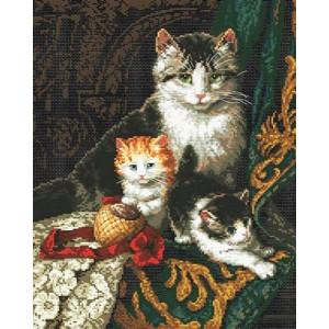 Вышивка крестиком 40Х50Арт. 0031 Семейство кошачьих