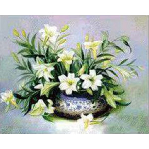 Вышивка крестиком 40Х50 Арт. 0252 Белые цветы