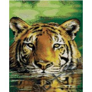 Вышивка крестиком 40Х50 Арт. 0044 Тигр в воде
